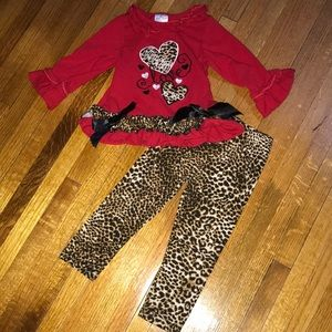 Red Ruffle Long Sleeve Love Outfit